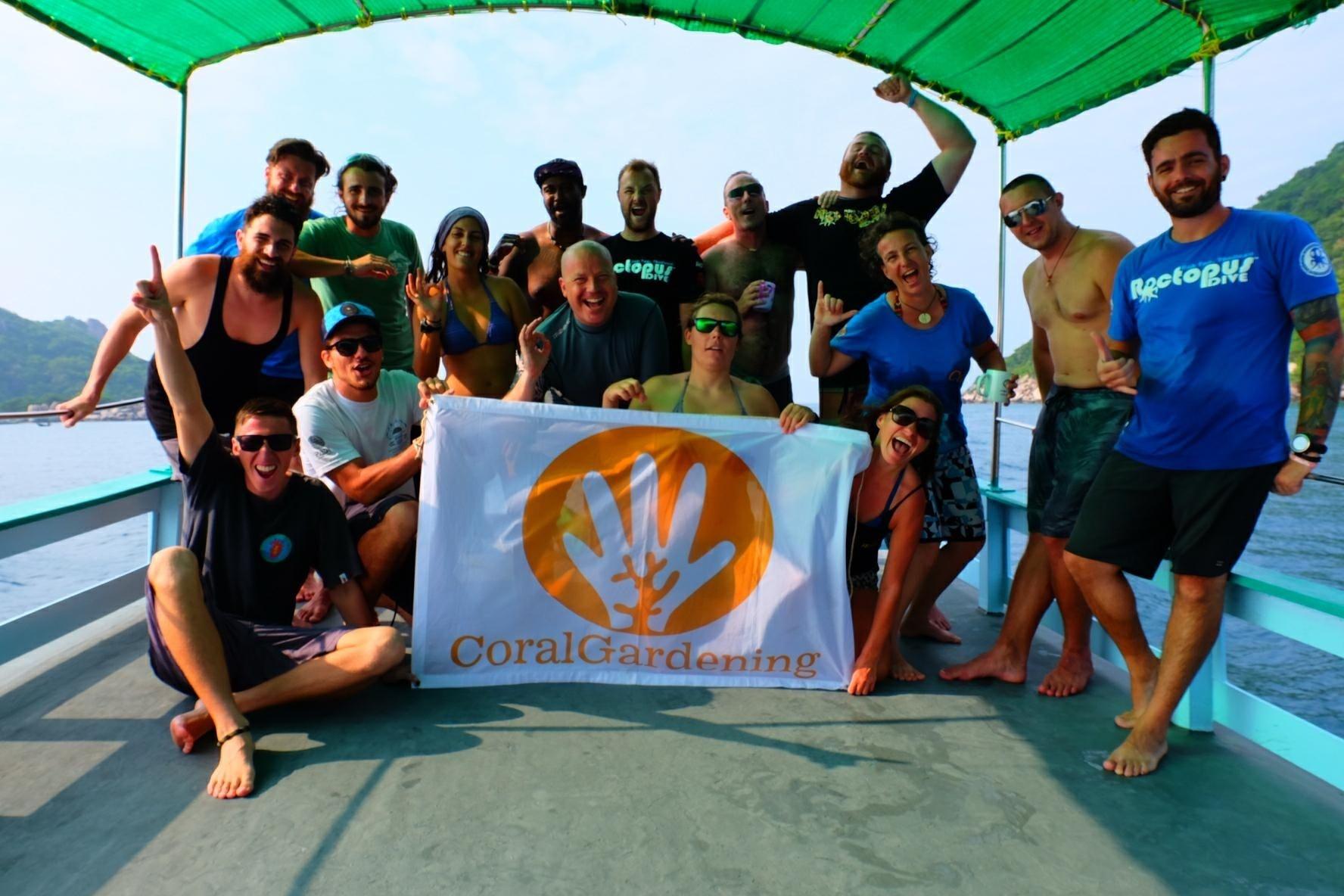CoralGardening volunteer team building the artificial reef on EcoDay March 2018