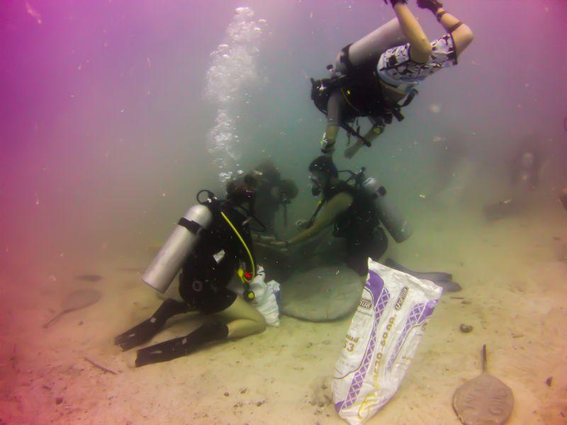 Het onder water plaatsen van een bloem is leuk werk.