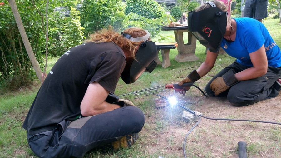 Welding the rebar for a leaf.