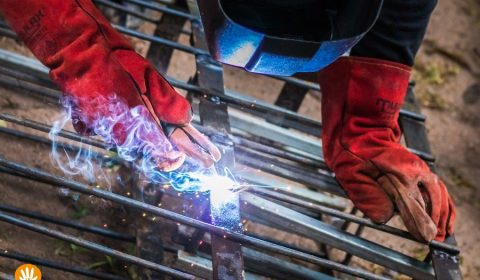 Willem is welding the Thai wai hands for the CoralGarden